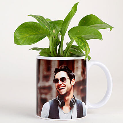 Money Plant In Stylish Personalised Mug-White: Send Plants For Fathers Day