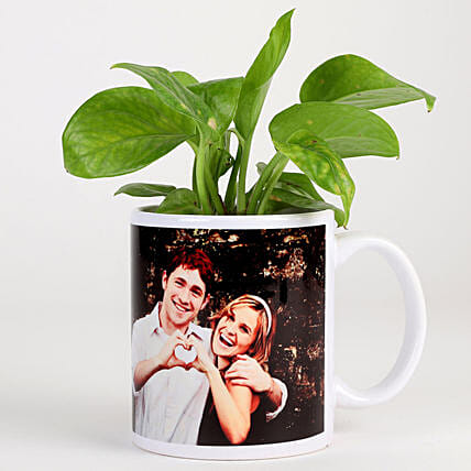 Money Plant In White Personalised Mug: Romantic Plants