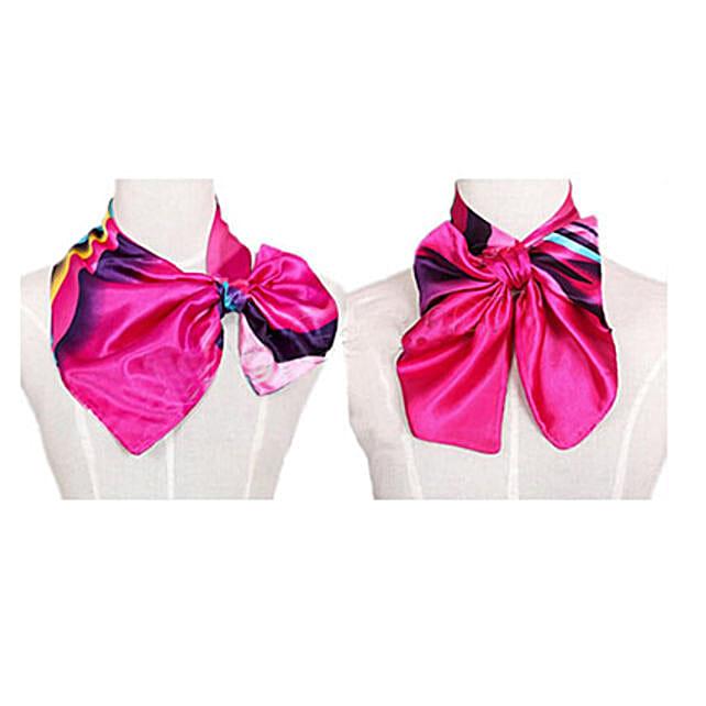 Multicolor Stripes Women Silk Scarf: Send Jewellery Gifts