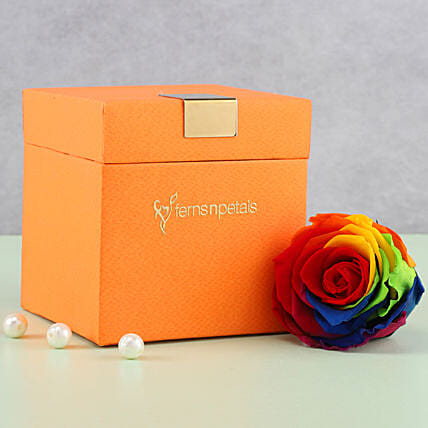 Mystic- Forever Rainbow Rose in Orange Box: Gifts for Promise Day