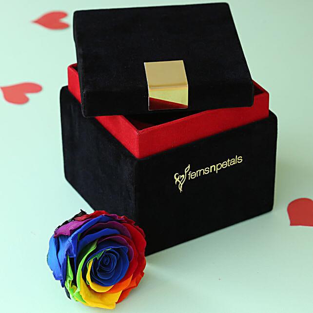 Mystic- Forever Rainbow Rose in Velvet Box: Forever Roses