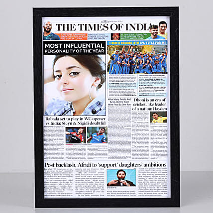 Newspaper Headline Personalised Black Frame: Send Personalised Photo Frames to Hyderabad