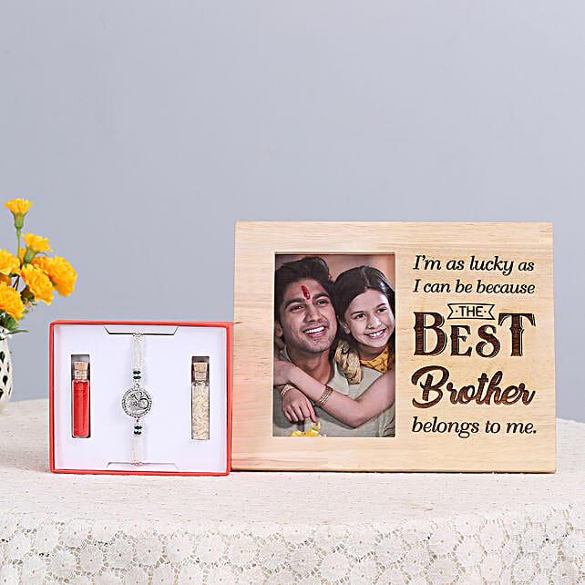 Om Rakhi & Wooden Photo Frame Combo: Send Rakhi With Photo Frames