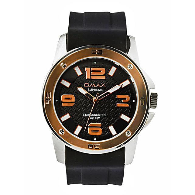 Omax Elegant Black Dial Mens Watch: Watches
