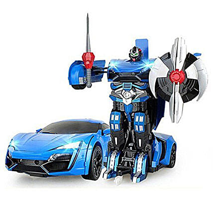 One Button Transforming Car Blue: Kids Toys & Games