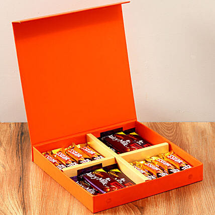 Orange Gift Box Of Chocolates: Send Promise Day Gifts