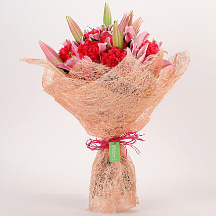 Oriental Lilies & Carnations Mixed Bouquet: