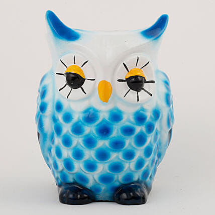 Owl Shaped Resin Vase White & Blue: Pots and Planters