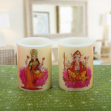 Pair of Lakshmi Ganesha Candle: Laxmi Ganesha Idol Gifts