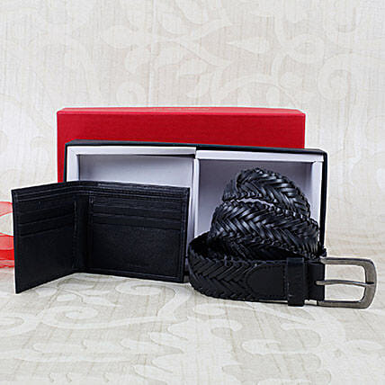 Paradigm Black Braided Belt Combo: Handbags and Wallets
