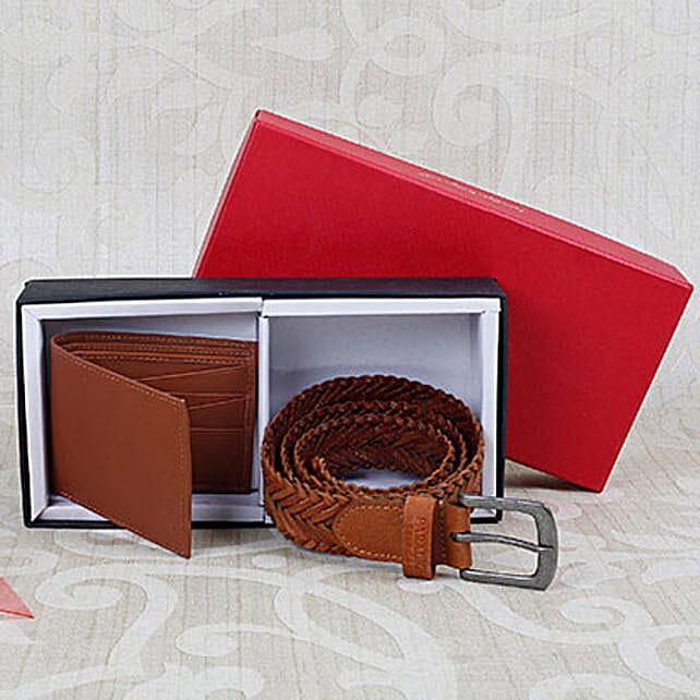 Paradigm Tan Braided Belt N Wallet Combo: Handbags and Wallets Gifts