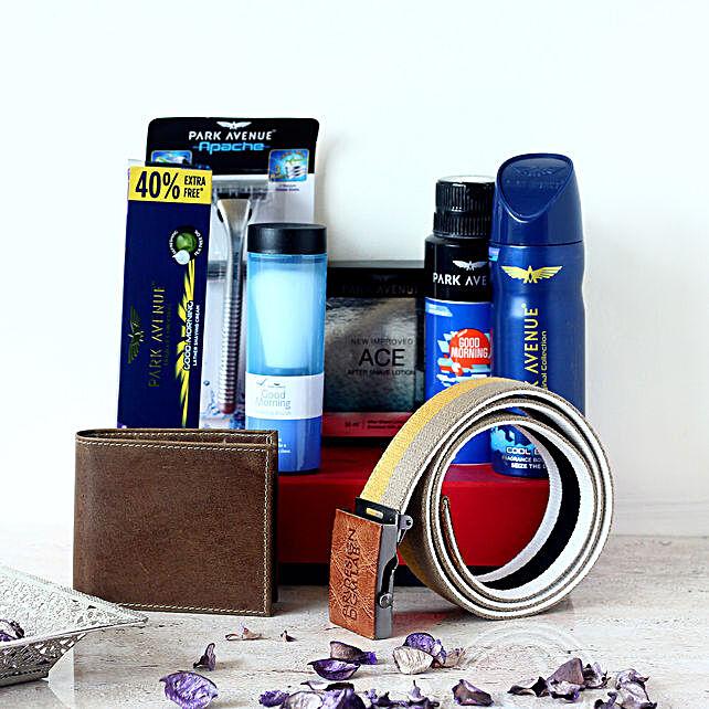 Park Avenue Wallet & Belt Combo Set For Men: Send Perfumes