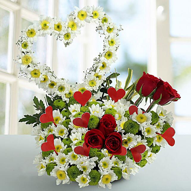 Peace White Daisy Arrangement: Heart Shaped Flowers