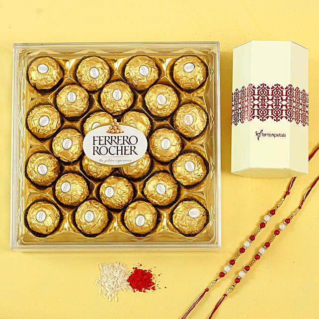 Pearl Rakhi Set & Ferrero Rocher Chocolates