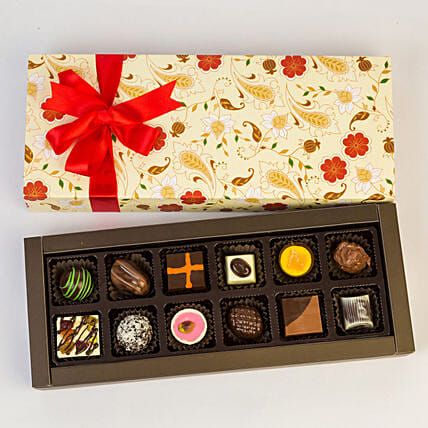 Permium Floral Box Of Chocolates- 12 Pcs: Gift Ideas