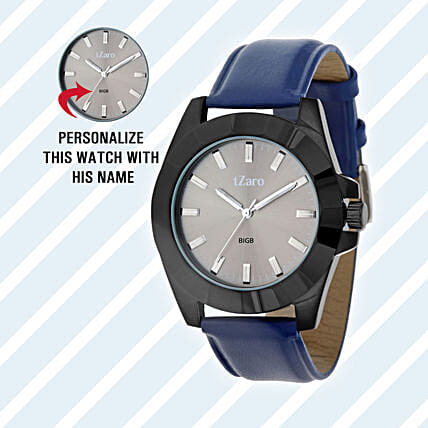 Personalised Black & Grey Watch For Him: Watches