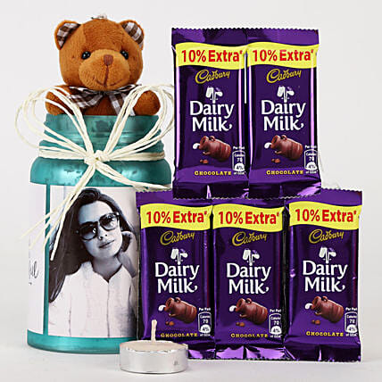 Personalised Blue Jar & Chocolate Combo: Cadbury Chocolates