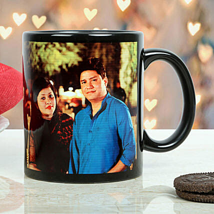 Personalised Couple Black Mug: Personalised Gifts Lucknow