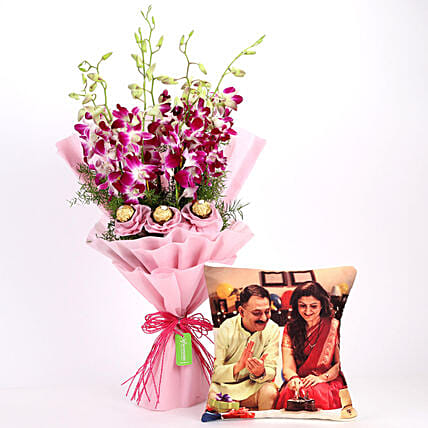 Personalised Cushion & Chocolaty Orchids Bouquet: