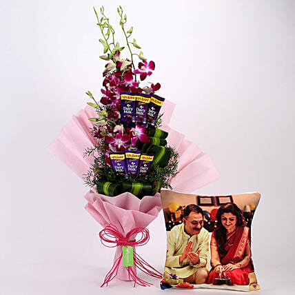 Personalised Cushion & Purple Orchids Posy: Flowers N Personalised Gifts