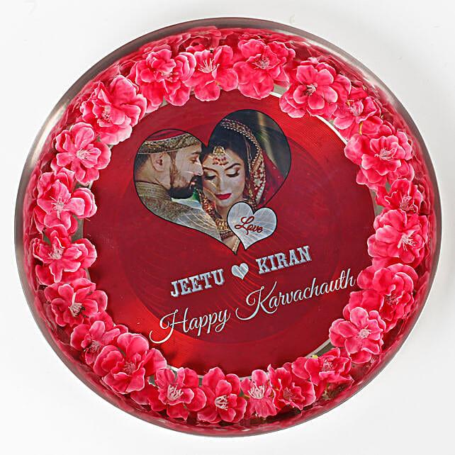 Personalised Decorated Karwa Chauth Thali: Send Pooja Thali