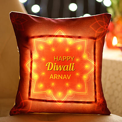 Personalised Diwali Name LED Cushion: Diwali Cushions