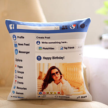 Personalised Facebook Birthday Cushion: Personalised Cushions - Birthday