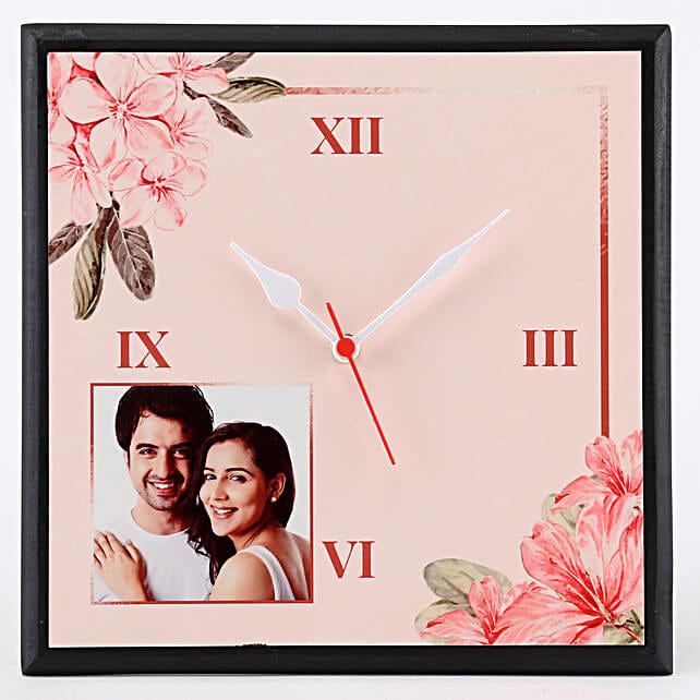 Personalised Floral Print Wall Clock: