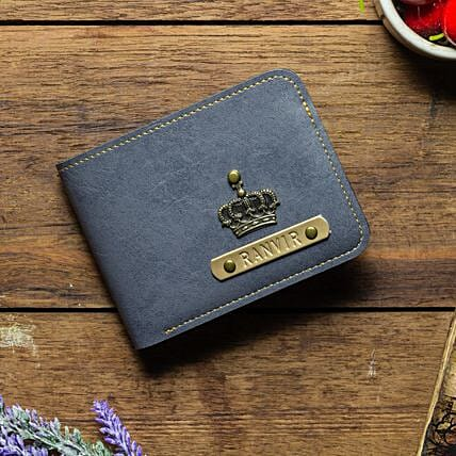 Personalised Grey Mens Wallet: Accessories