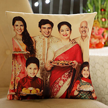 Personalised Happy Family Cushion: Diwali Cushions