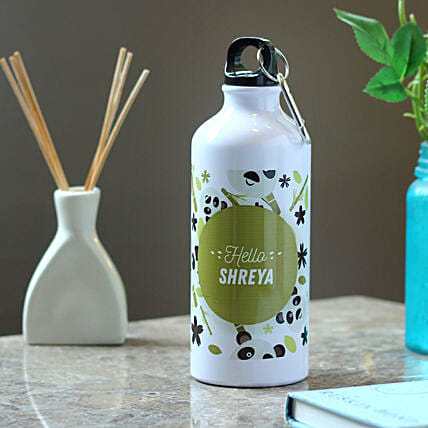 Personalised Hidden Panda Steel Bottle: Personalised Message Bottles