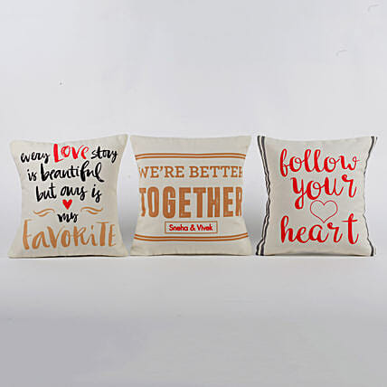 Personalised Love Message Cushions Set Of 3: Send Miss You Gifts