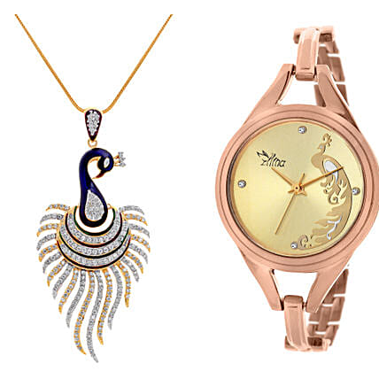 Personalised Peacock Watch & Pendant: Send Jewellery Gifts