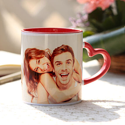 Personalised Red Heart Handle Mug: Send Personalised Gifts to Lucknow
