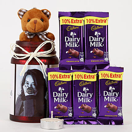 Personalised Red Jar & Chocolate Combo: Cadbury Chocolates