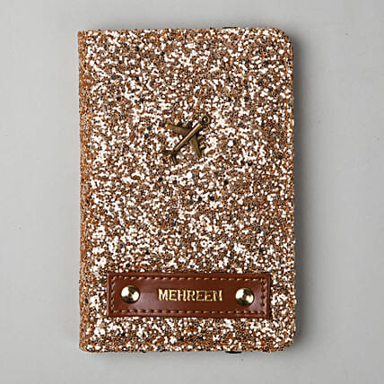 Personalised Rose Gold Glitter Passport Cover: