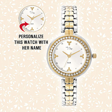 Personalised Silver & Golden Pretty Watch: Personalised Accessories