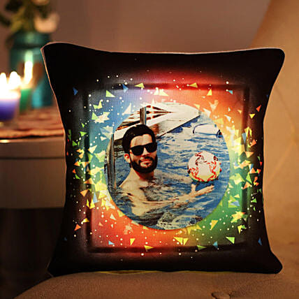 Personalised Vibrant LED Cushion: Gifts for Brothers Day