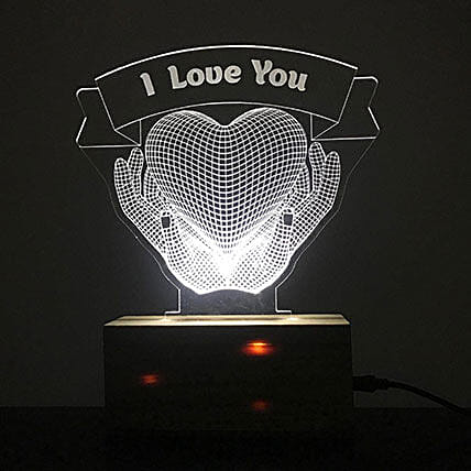 Personalised White LED I Love You Lamp: