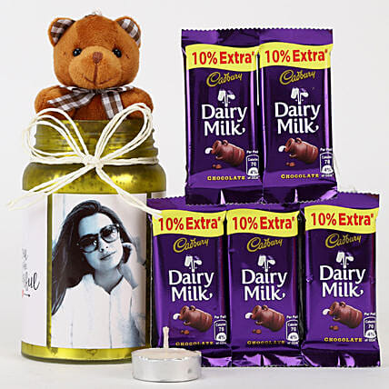 Personalised Yellow Jar & Chocolate Combo: