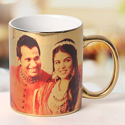 Personalized Ceramic Golden Mug: Send Personalised Gifts to Begusarai