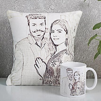 Personalized Couple Cushion N Mug Combo:
