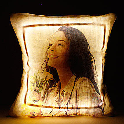 Personalized LED Cushion Yellow: Friendship Day Personalised Gifts