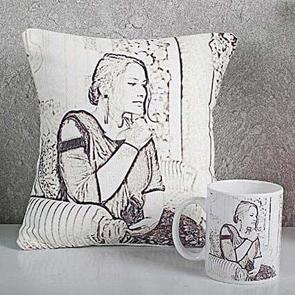 Personalized Sketch Cushion N Mug Combo: Friendship Day Personalised Cushions
