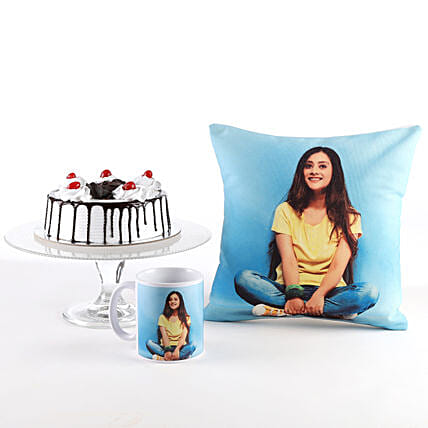 Photo Cushion, Mug & Black Forest Cake Combo: Personalised Mugs