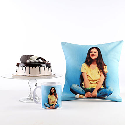 Photo Cushion, Mug & Cake Combo: