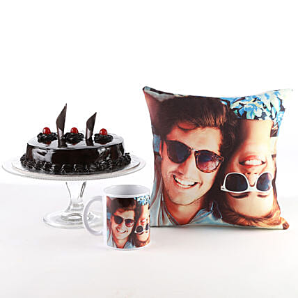 Photo Cushion, Mug & Cake Combo: Cakes N Personalised Gifts