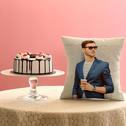 Picture Cushion & Black Forest Cake Combo: Fathers Day Cushion
