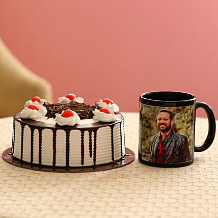 Picture Mug & Black Forest Cake Combo: Brothers Day Gifts
