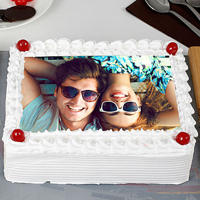 Pineapple Photo Cream Cake: Send Photo Cakes
